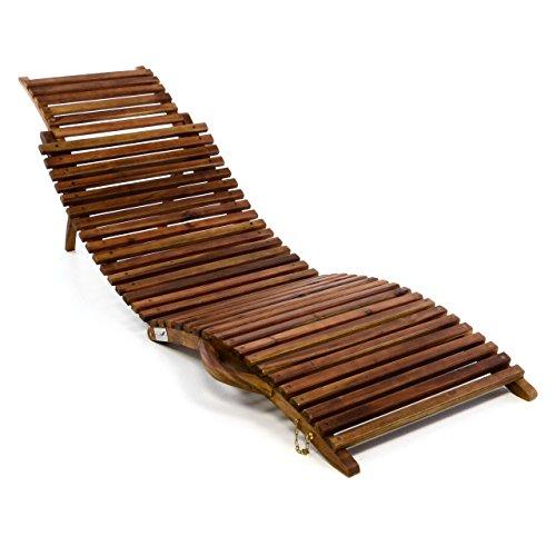 DIVERO Strandliege Sonnenliege aus Akazienholz Faltliege