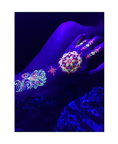Glow In The Dark Clothing And Accessories (d'IRIS studio Glow in The Dark Party Blacklight Tattoos -Temporary Rave UV Neon Night Lotus Flower Mandala Decorations Birthday Supplies Favors Accessories Sticks Nightclub Dance Rainbow)