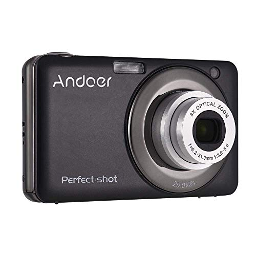 Andoer 20MP 720P HD Digital Camera Video Camcorder 2pcs Rechargeable Batteries 8X Optical & 4X Digital Zoom Anti-Shake 2.7inch LCD Screen Kids