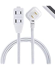 GE Pro 6 Ft Designer Braided Extension Cord, 3-Outlet Power Strip, 2 Prong, Flat Plug, Tangle-Free, Perfect for Home, Office or Kitchen, UL Listed, White/Gray, 42383