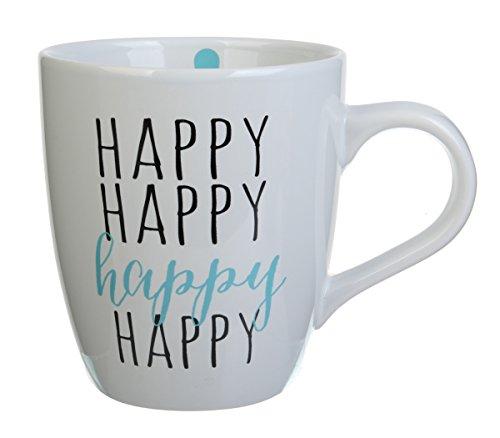 Formation Brands Happy, Happy, Happy Jumbo Mug (Set of 4), 25 oz, Multicolor