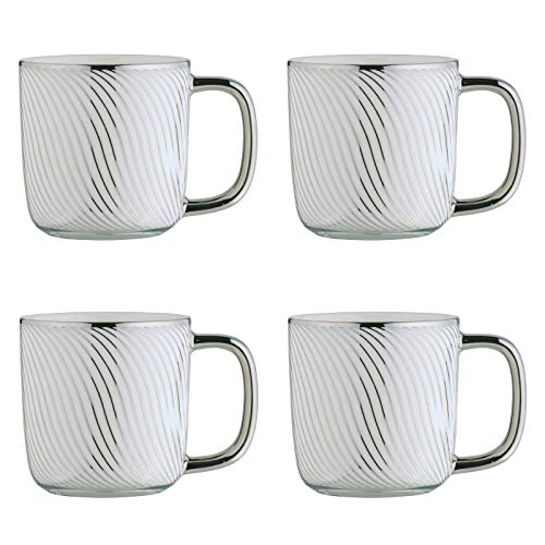 BIA 993018+1811PK4 Electroplated Mugs Espresso Cups, Porcelain, 100 milliliters