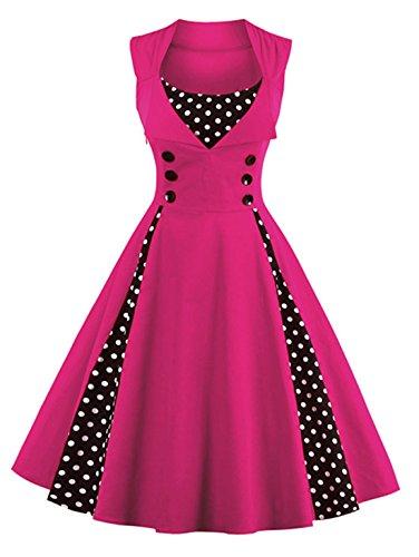 (Jiuzhoudeal Women's 1950s Vintage Sleeveless Retro Swing Party Classy Dress (XX-Large, Hot Pink))