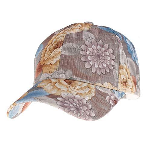 Yucode Women Summer Ponytail Baseball Cap Messy Bun Floral Print Hat Sun Caps Coffee]()