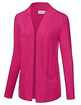 Jj Perfection Women's Open Front Knit Long Sleeve Pockets Sweater Cardigan Hotpink S 1
