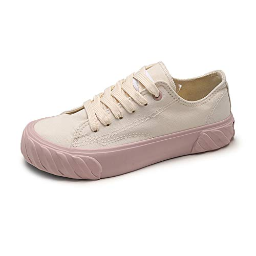 948f5709c ... Fastylike ZHZNVX Zapatos de Mujer Lienzo Primavera y Verano Comfort  Sneakers Zapatos para Caminar Tacón Plano Punta Redonda Violeta Azul   Rosa  Pink