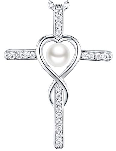 - Dorella Love Infinity God Cross Jewelry White Pearl Charm Necklace Gifts Women Anniversary Birthday Gift Her Wife Girlfriend Fiancee, Grandma, Sterling Silver Swarovski Pendant,18