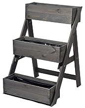dobar - Escalera para macetas (3 escalones, Incluye lámina para Plantas, 60 x 70 x 90 cm, Madera de Pino), Gris