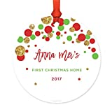 Andaz Press Personalized Adoption Family Metal Christmas Ornament, Anna Mei's First Christmas Home 2018, Red Green Gold Glittering, 1-Pack, Includes Ribbon and Gift Bag, Custom Name
