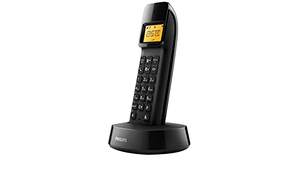 Philips D1403B/22 - Teléfono (Teléfono DECT, Terminal inalámbrico, 50 entradas, Identificador de Llamadas, Negro): Amazon.es: Electrónica