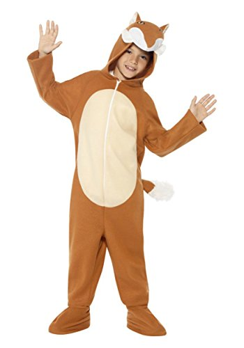 Smiffy's Children's Unisex All In One Fox Costume, Jumpsuit with Tail and Ears, Party Animals, Ages 7-9, Size: Medium, Color: Brown, (Buy A Stormtrooper Costume)