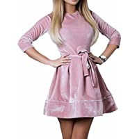 ZJFZML Women's Round Neck Long Sleeve A-Line Slim Velvet Elegant Dresses