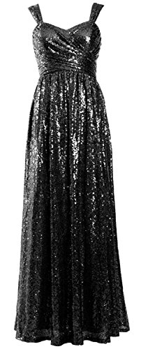 MACloth Women Elegant Sequin Long Bridesmaid Dress Wedding Party Formal Gown (26w, Black) by MACloth