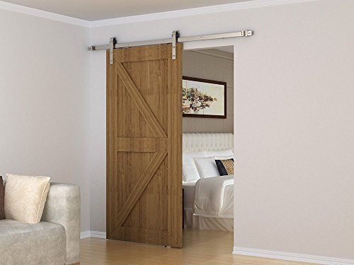 HOMACER Double Brushed Nickel Sliding Barn Door Hardware Kit, 7FT Track,  Classic Design, Industrial Strength Door Hangers,  Perfect for Garage, Closet, Interior and Exterior Door Use by HOMACER