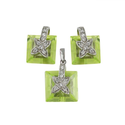 Cross Chess (Sterling Silver Earrings and Pendant Set Square Peridot Chess Cut CZ with Pave Cross on Top )
