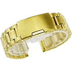 Zeiger Men B008 Replacement Metal Wrist Watch Band (Stainless Gold 20mm)