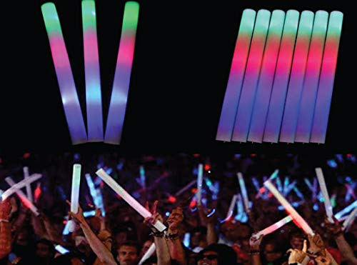 LED Flashing Foam Sticks, 16'', 3 Modes, Red-Green-Blue Colorful Flashing LED Stobe Stick, Party, Concert, Wedding, Any Event (72)