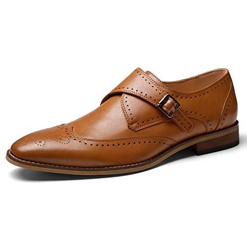 Men's Monk Strap Dress Shoes Prince Single Buckle Slip On Stylish Wingtip Dress Loafer Brown 10.5 D (M) US