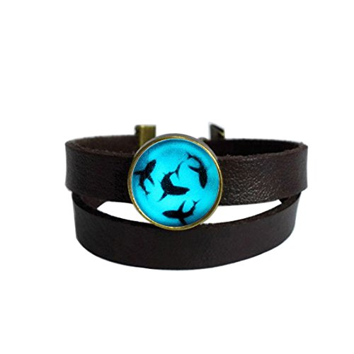 (LAROK WAZZIT Two Layers Design Dark Brown Leather Cuff Bangle Shark Glowing Rope Wristband Bracelet with Glass Pendant)