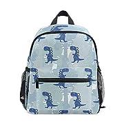 Cute Childish Seamless Pattern with Dinosaur Preschool Bag Kids Backpack for Toddler Boy Girls Age 2-7 (Blue)