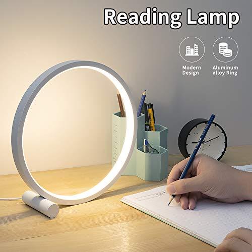 Cool Circle Design Led Table Reading Lamp Desk Light, Modern Metal Bedroom Bedsie Lamp Eye Caring Study Lamp Kid Room Nightstand Headboard Living Room Daylight White