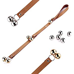 Brown Leather Strap Dog Doorbells, Golden and Silver Bells, Adjustable Length, Potty Training and Housebreaking, Communicate With Your Pet. 67