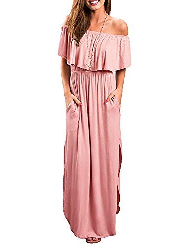 Kathemoi Women's Off Shoulder Summer Casual Long Ruffle Beach Maxi Dress with Pockets ()