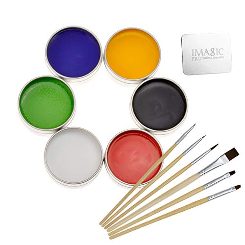 CCbeauty Professional Face Body Paint Art Makeup Set Halloween Party X'Mas (Painting Set with Palette Ring and Brush) ()
