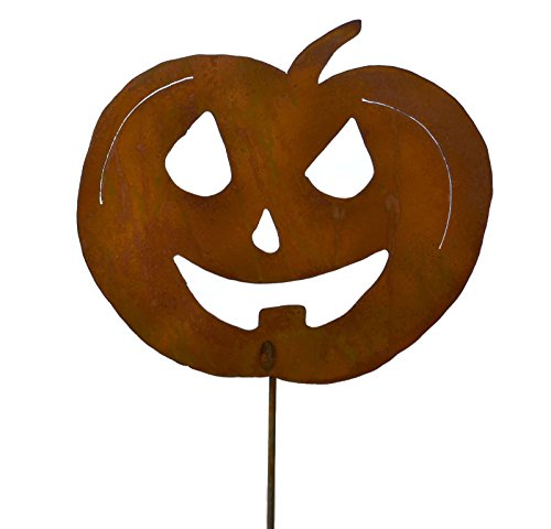 Jack-o-Lantern Rustic Metal Yard Stake. Whimsical Halloween Decoration Idea. Handcrafted by Oregardenworks in the USA!