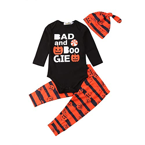 Baby Girls Boys Halloween Clothes Set Letter Printed Romper Top Striped Pants Winter Outfits Long Sleeve Pumpkin Suit (Black/Orange, 18-24M)
