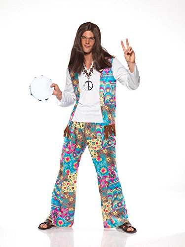 Smiffy#039s Men#039s Groovy Hippie Costume Top with Attached Waistcoat