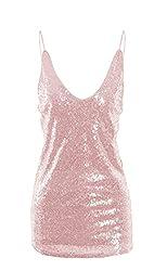 Women's Sequin Embellished Deep V-Neck Camisole Tops