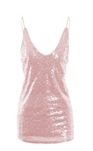 Oflive Women's Sexy Gold Shimmer Sequin Embellished Sparkle Deep V Neck Camisole Vest Tank Tops (Large, Baby ()