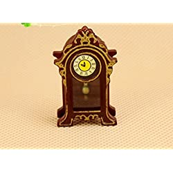 Vellhater Creative Retro Miniature Wooden Desk Clock Decoration for Doll House (Brown)