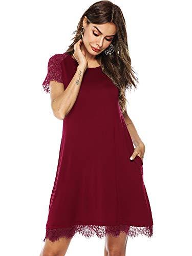 (Amoretu Womens Plain Tunic Dress Short Lace Sleeve Shift Dresses for Summer(Burgundy,M))