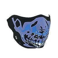 Zanheadgear WNFM024H Media máscara facial de neopreno, cráneo azul cromado
