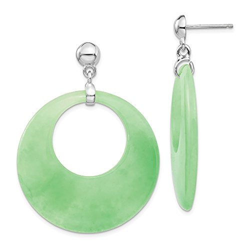 925 Sterling Silver Jade Circle Drop Dangle Chandelier Post Stud Earrings Fine Jewelry Gifts For Women For Her