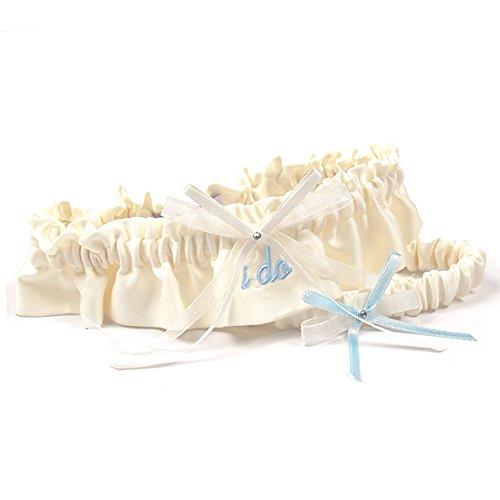 Ivory Embroidered I Do Wedding Garter Set