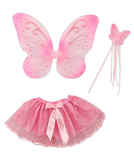 iGirldress Butterfly Wings Tutu Wand Toddler Girl Costume Dress Up 2-5T Pink ()