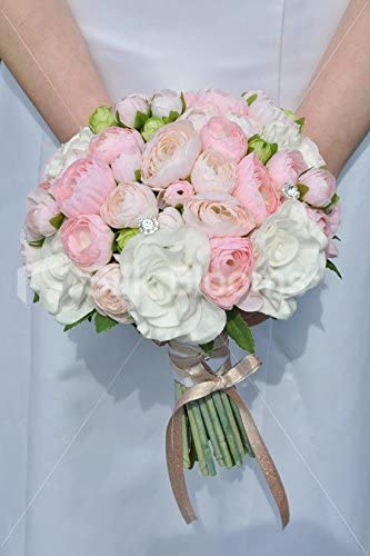 Bouquet Sposa Ranuncoli.Amazon Com Pink Silk Ranunculus White Fresh Touch Rose Bridal