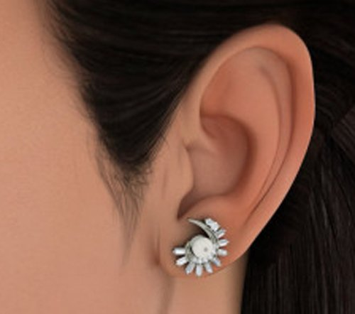 Or blanc 14K/CT TW Round-cut-diamond (IJ | SI) et blanc perle Boucles d'oreille à tige