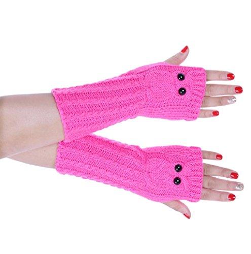 Mallcat Womens Knitted Arm Owl Fingerless Gloves Mitten (Hot Pink)