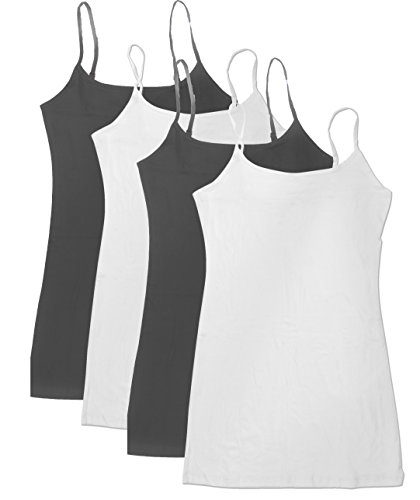 4 Pack Active Basic Women's Basic Tank Top (1X-Wh/Wh/Chcl/Chcl)