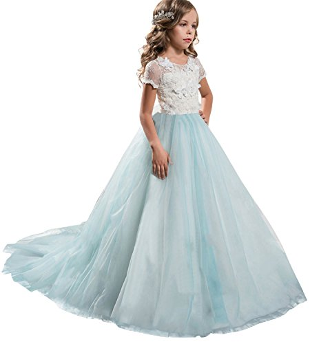 NNJXD Girls Princess Mint Blue Pageant Long Dress Kids Prom Ball Gowns Size (130) 6-7 Years (Butterfly Long Dress)