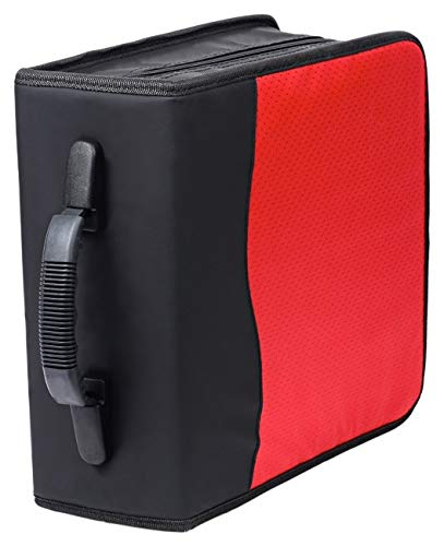 Deluxe 320 Disc CD/DVD Media Case - Red - with New and Improved Inserts, double the thickness and all tabs pulled