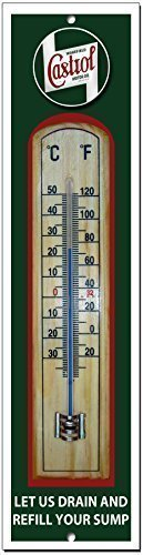VINTAGE SIGN DESIGNS Castrol quality metal and wood garage thermometer