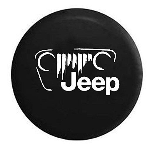 Jeep Vintage Off Road Grill Logo JK TJ CJ Spare Tire Cover OEM Vinyl Black 32-33 in