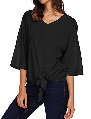 ZXZY Women Knit Ribbed V Neck 3/4 Sleeve Bow Tie Front Solid Color T-Shirt Tops - 3/4 Sleeve Ribbed Knit Top