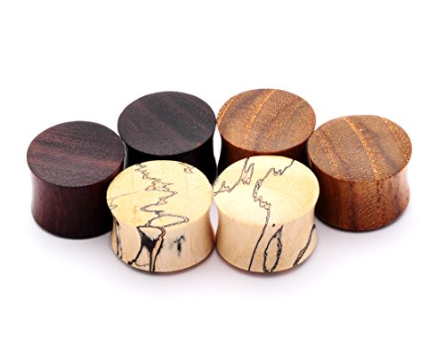 Mystic Metals Body Jewelry Set of 3 Pairs Wood Plugs (Tamarind, Teak, Sono) (1/2