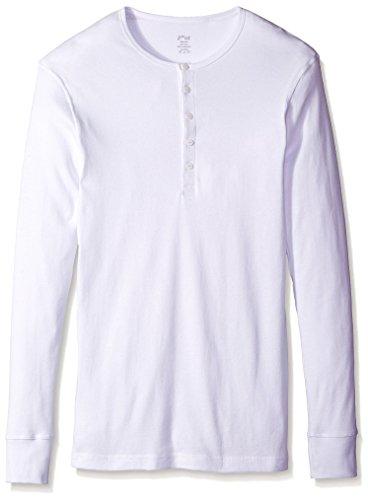 Button Up Cotton Henley - 2(X)IST Men's Essential Long Sleeve Henley Underwear, White, X-Large
